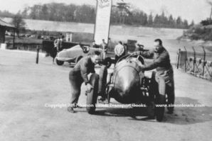 John Cobb pushing 10.5 Litre Delage. Brooklands Paddock. Early 1930s.